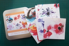 Tin of six flower cards