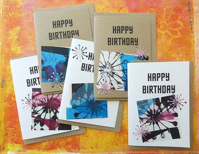 whirligig print and collage cards